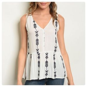 Lush Tops - NEW! 3 FOR $40 • Sleeveless Embroidered V-Neck Top